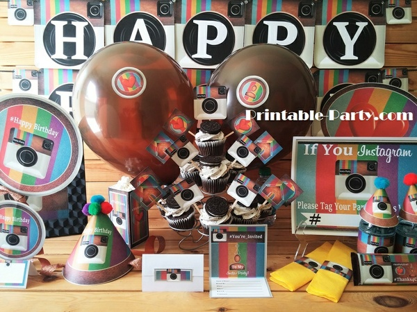 Insta-Party Theme Printable Birthday Supplies-Rainbow
