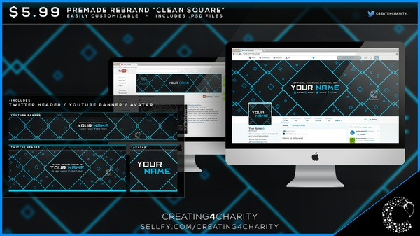"""Clean Square"" pre-made social media rebrand"