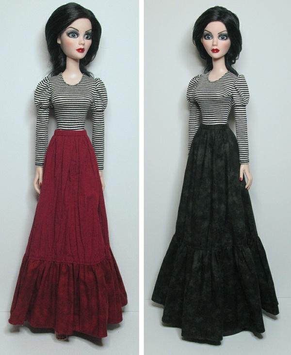 SSP-030: Puff-sleeve leotard, pinafore style overdress * underskirt, for Evangeline & friends.