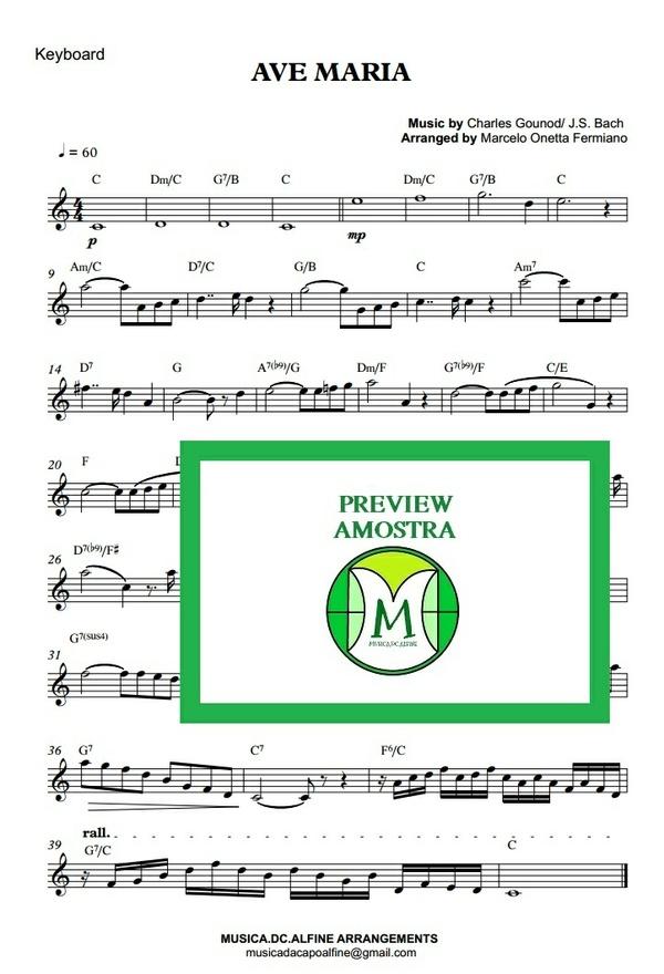 Ave Maria - Gounod - Keyboard or Violin Sheet Music