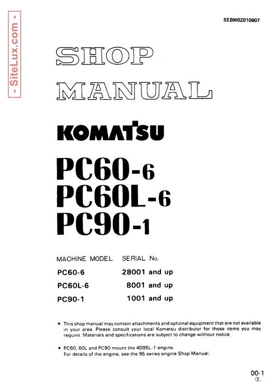 Komatsu PC60-6, PC60L-6, 6 PC90-1 Hydraulic Excavator Shop Manual - SEBM02010607
