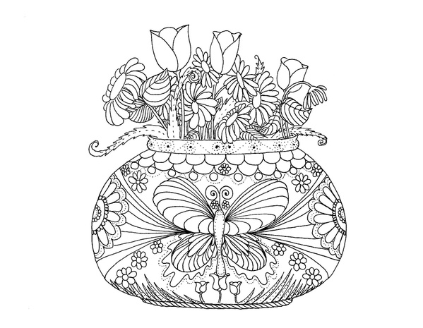 Hippy Vase of Flowers Coloring Page