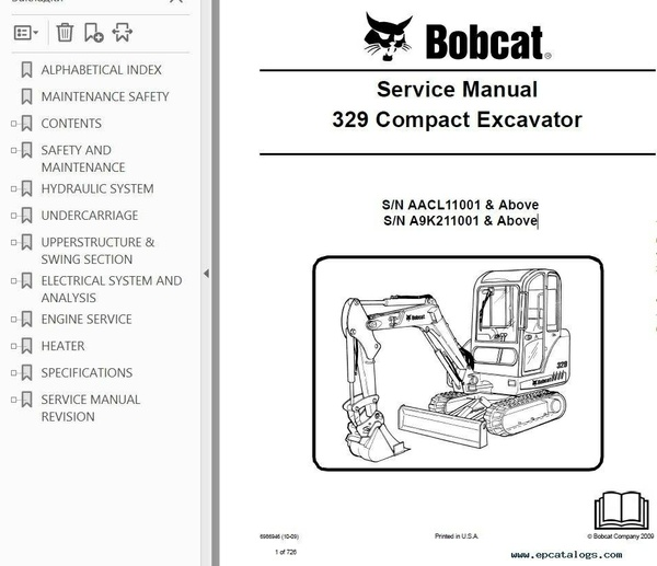 Bobcat 329 Excavator Service Repair Manual PDF S/N AACL or A9K2