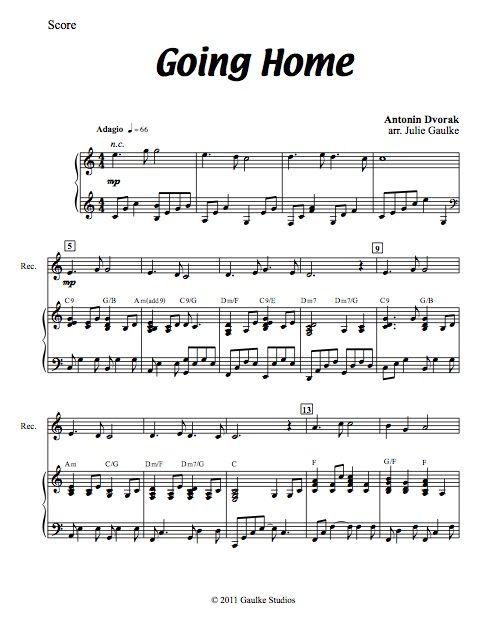 Going Home (Dvorak) original arrangement for recorder