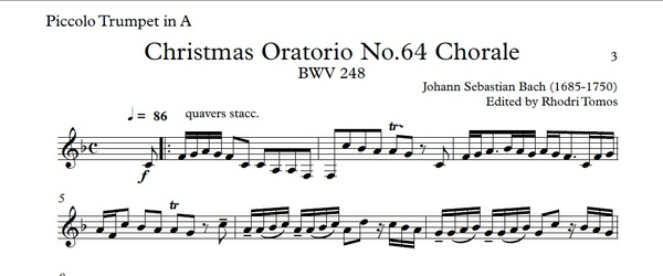 Bach BWV248 Christmas Oratorio. Trumpet play along.
