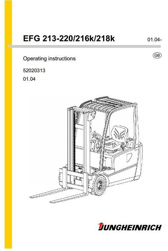 Jungheinrich Electric Truck EFG-Series: 213, 215, 216, 218, 220 ac Operating & Maintenance Manual