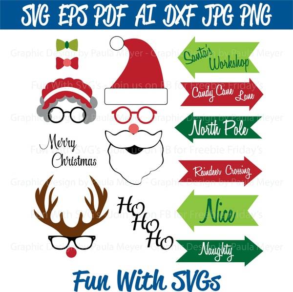 Santa Photo Booth Props - SVG Cut File, High Resolution Printable Graphics and Editable Vector Art
