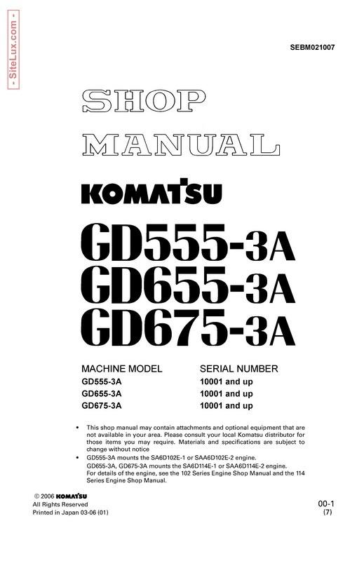 Komatsu.GD555-3A, GD655-3A & GD675-3A Motor Grader Shop Manual - SEBM021007