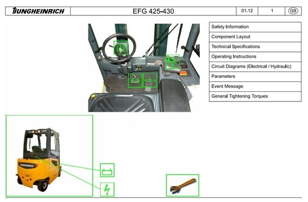 Jungheinrich Electric Lift Truck EFG 425 (K, S, KS),  EFG 430 (K, S, KS)  EFG S30 (S) Service Manual
