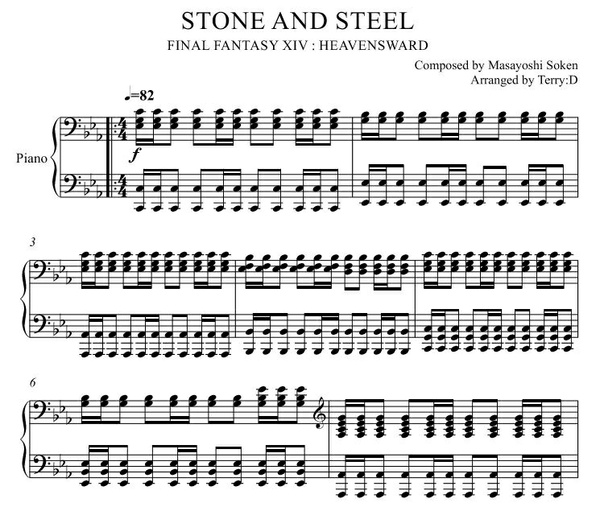 """Stone and Steel(Arr.by Terry:D)"" for Piano solo from Final Fantasy XIV : HEAVENSWARD"