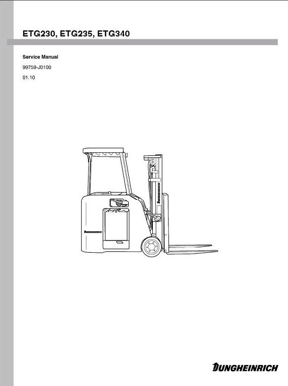 Jungheinrich Electric Lift Truck ETG-Series: 230,  235, 240 (from 01.10) Workshop Service Manual