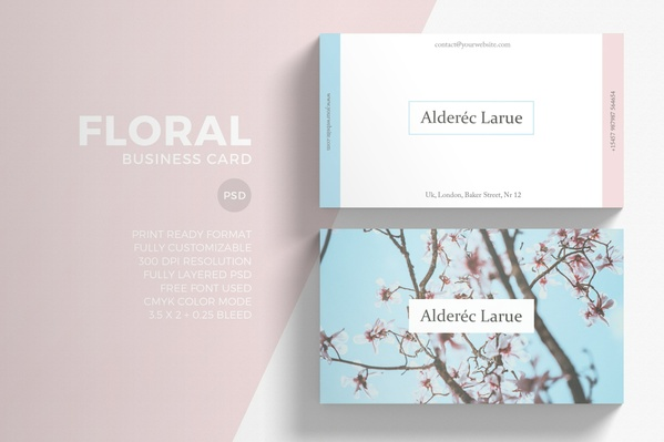 Minimal Floral Business Card Template