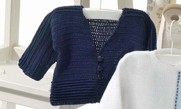 Navy Boy Crochet Cardi