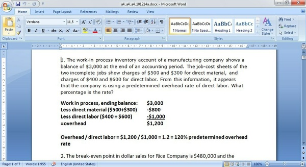 The work-in-process inventory account of a manufacturing company