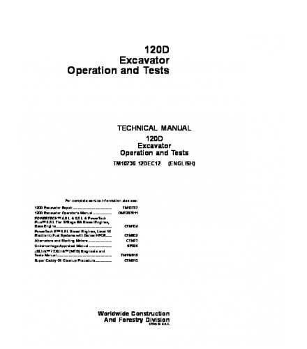 PDF DOWNLOAD JOHN DEERE 120D EXCAVATOR OPERATION AND TEST SERVICE TECHNICAL MANUAL TM10736