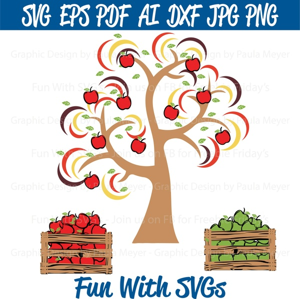 Harvest Apple Tree & Crates - SVG Cut File, Printable Graphics and Editable Vector Art