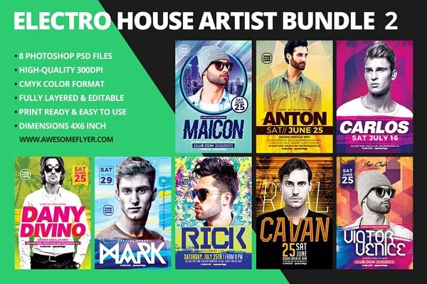 Electro House Artist Flyer Bundle 2