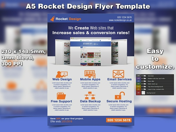 Rocket Design Flyer Template (A5, PSD)