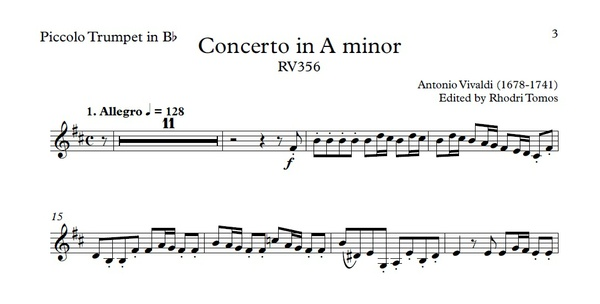 Vivaldi RV356 Concerto in A minor - Violin & piccolo trumpet play along mp3 & solo sheet music pdf