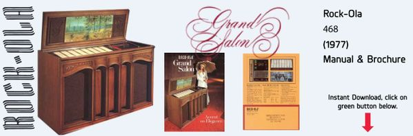 "Rock-Ola 468 ""Grand Salon""     (1977)   Manual & Brochure"