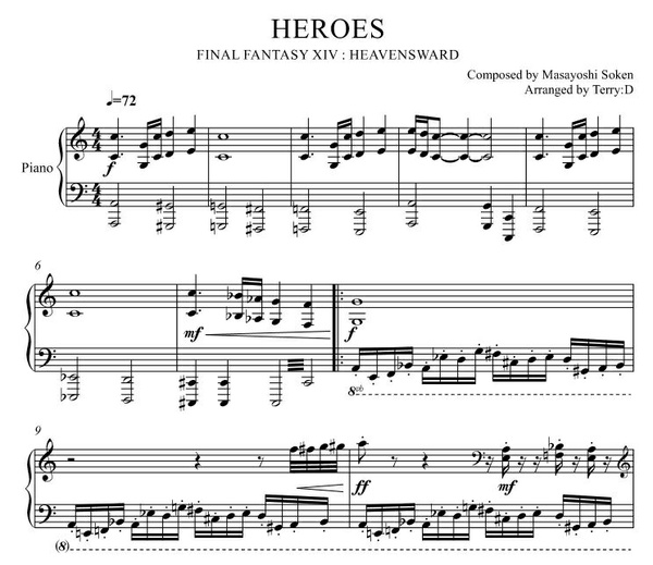 """""""Heroes(Arr.by Terry:D)"""" for piano solo from FFXIV"""