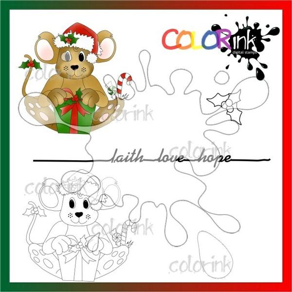 christmas present and sentiment Digi stamp