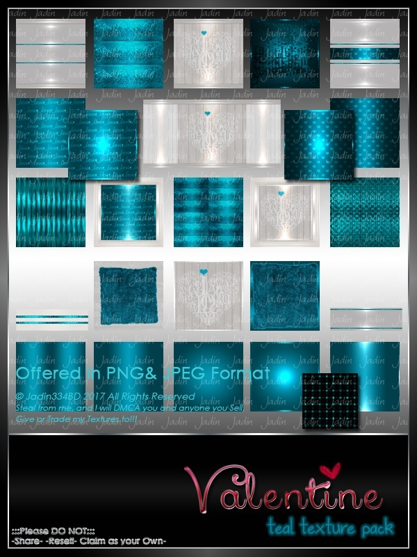 Valentine TEAL Texture Pack -- $5.00