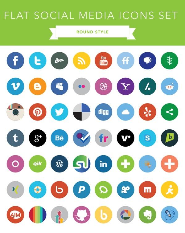 Flat Social Media Icons Set (Round Style_FREE)