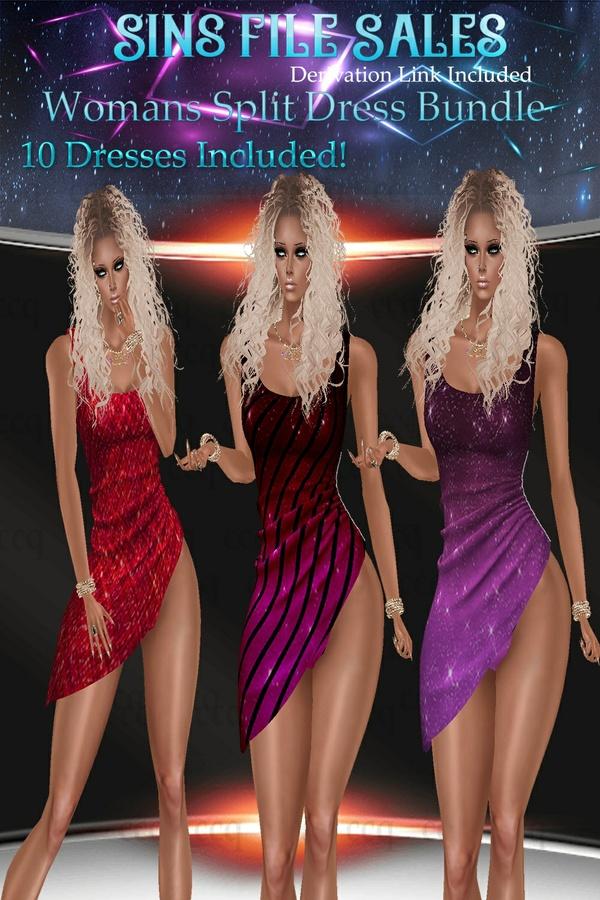 Womans Split Dress Bundle * 10 Dresses Included