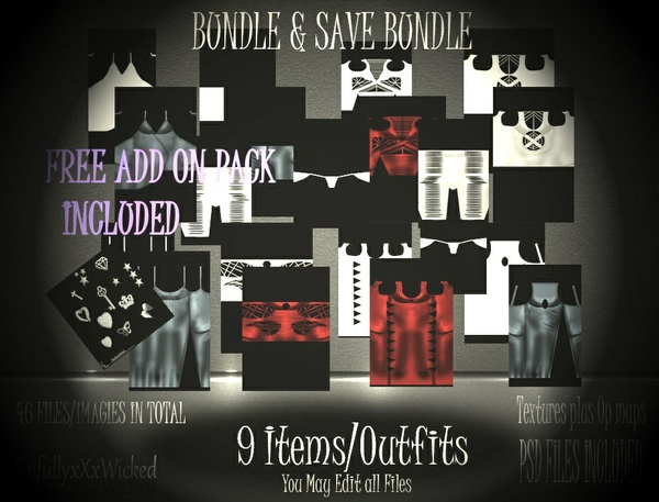 Clothing Bundle + PSD FIles ( 46 files/images in Total) FREE CHARM Pack