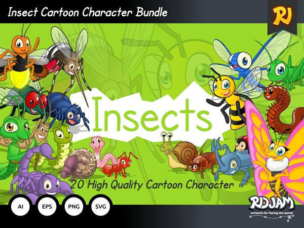 Insect Cartoon Character Bundle