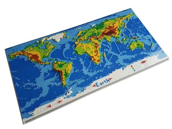 dirks LEGO world map - LDD-file, instructions, parts list