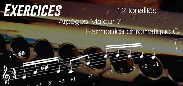Exercices - Arpèges Majeur 7 - 12 Tonalités - transposable (Musescore) - Harmonica chromatique