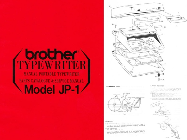 Brother JP-1 Manual Portable Typewriter Repair Adjustment Service Manual