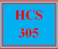 HCS 305 Week 1 Week One Assignment
