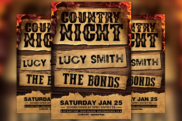 Country Bar Night Flyer Template