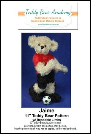 Soccer Bear Teddy Bear Pattern with bendable limbs - w/ resell rights of finished bear