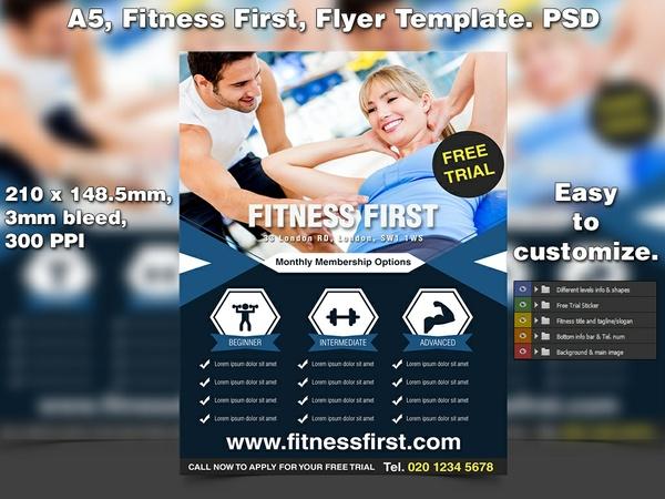 Fitness First Flyer Template (A5 PSD)
