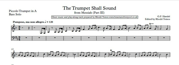 Handel HWV56 Messiah. Music minus trumpet 1 mp3 & Solo Sheet Music (5 Movements)
