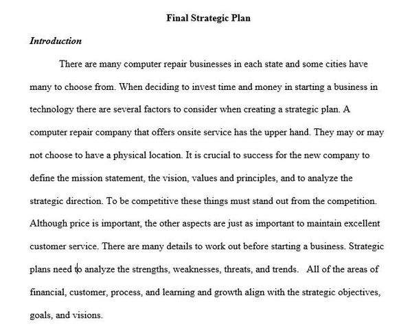 BUS 475 Week 5 Final Strategic Plan Individual Assignment