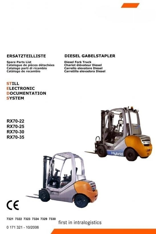 Still Diesel/Hybrid Forklift Truck RX70-22,25,30,35: 7321, 7322, 7323, 7324, 7329, 7330 Parts Manual