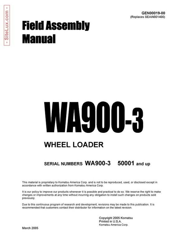Komatsu WA900-3 Wheel Loader Field Assembly Manual - GEN00019-00