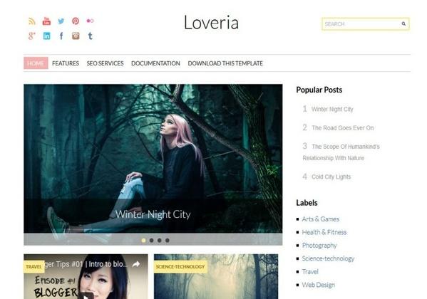 Loveria Blogger Template Premium Version