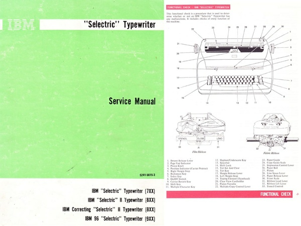 IBM Selectric Typewriter Service Repair Adjustment Manual