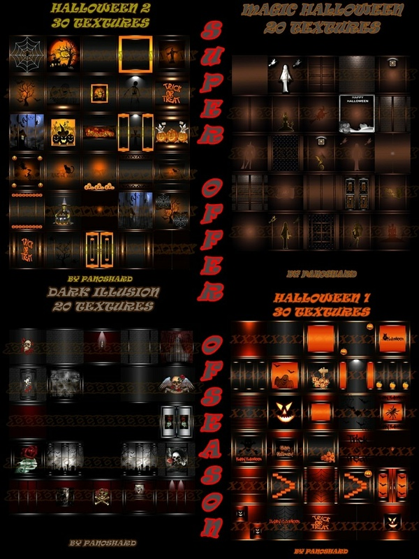 Super offer    four halloween packages 100 textures imvu room