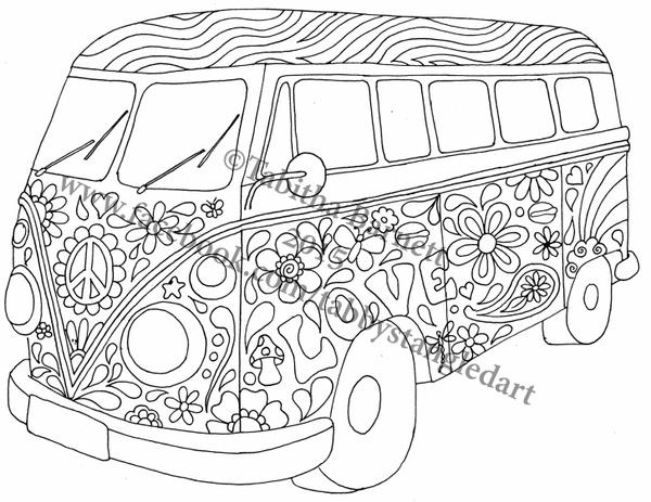 Hippie Bus Coloring Page