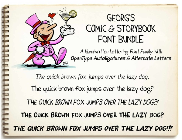 Georg's COMIC FONTS: 11 Handwritten Lettering Font Bundle (OTF, TTF, SVG, DFONT)