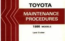 1986 Toyota Land Cruiser Maintenance Procedures Manuals
