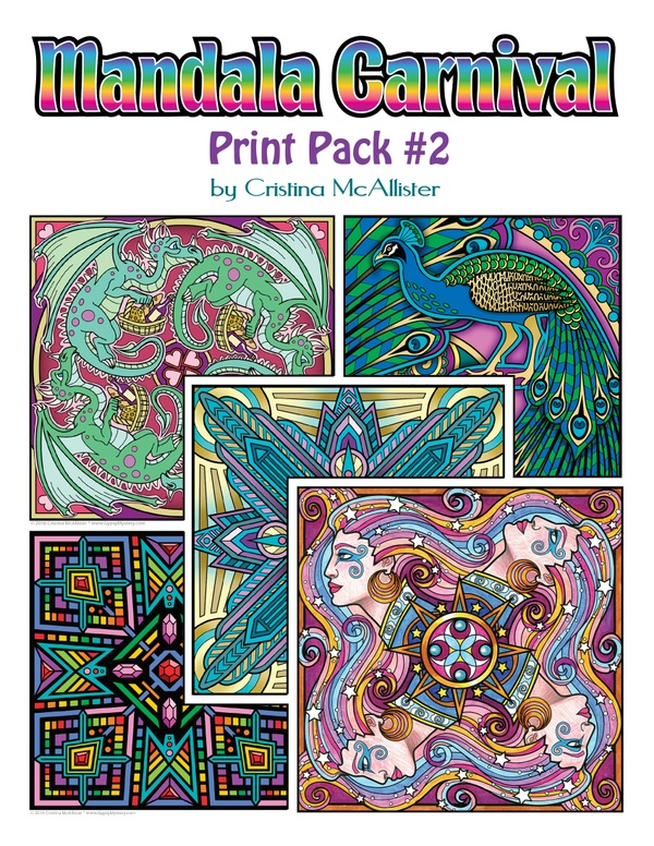 Mandala Carnival Print Pack #2 - 12 Printable Coloring Pages by Cristina McAllister