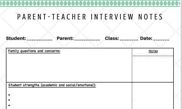Parent Teacher Interview Notes